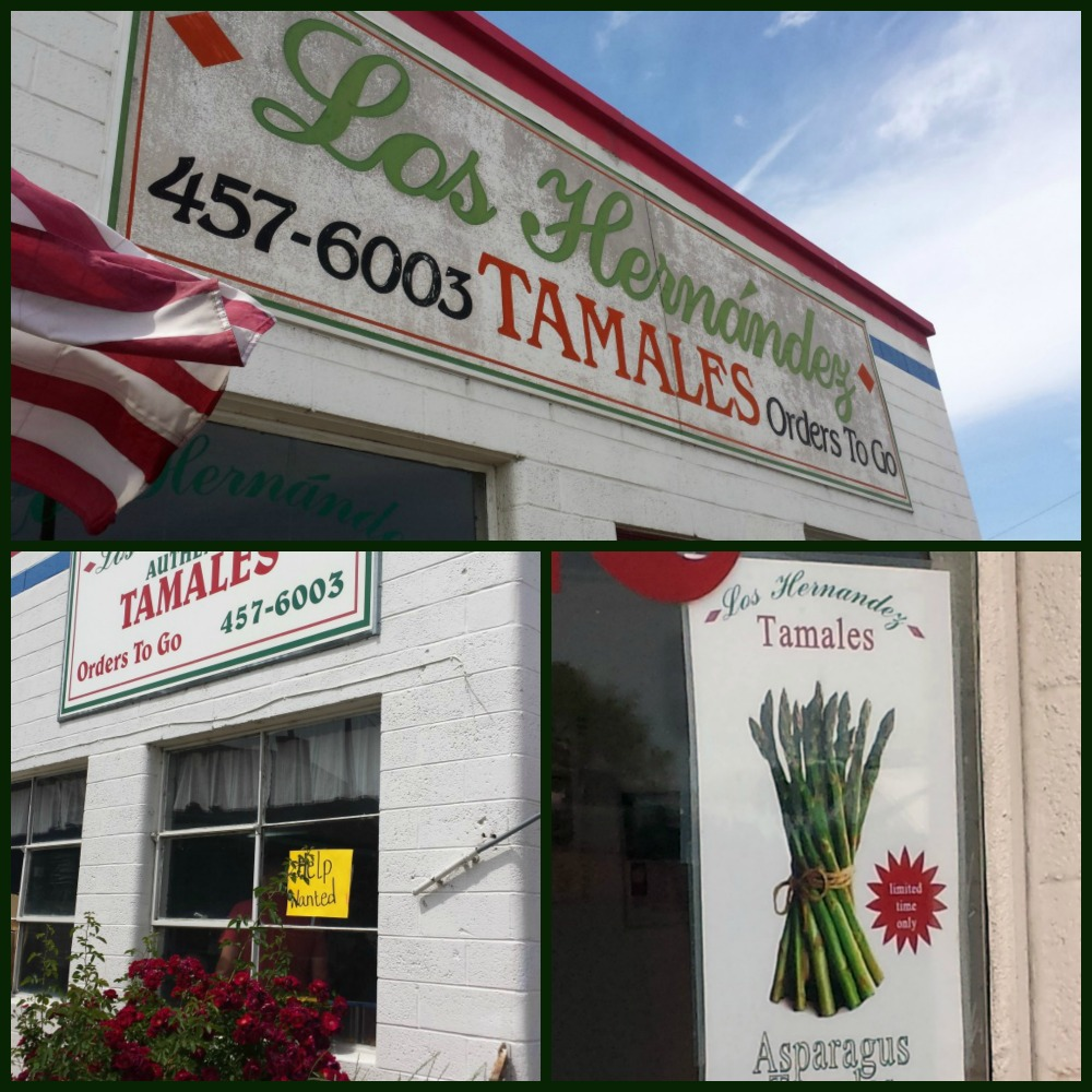 a collage of pictures of Los Hernandez Tamales shop