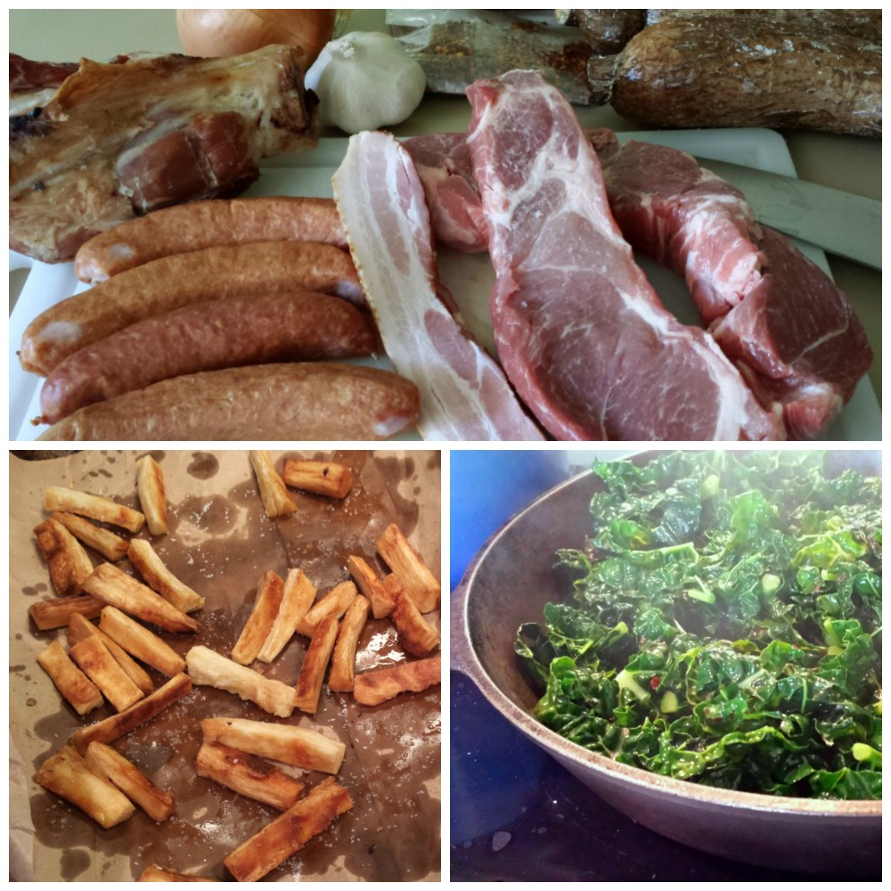 a photo collage with ingredients for the feijoada; kale sauteing; and fried yucca.