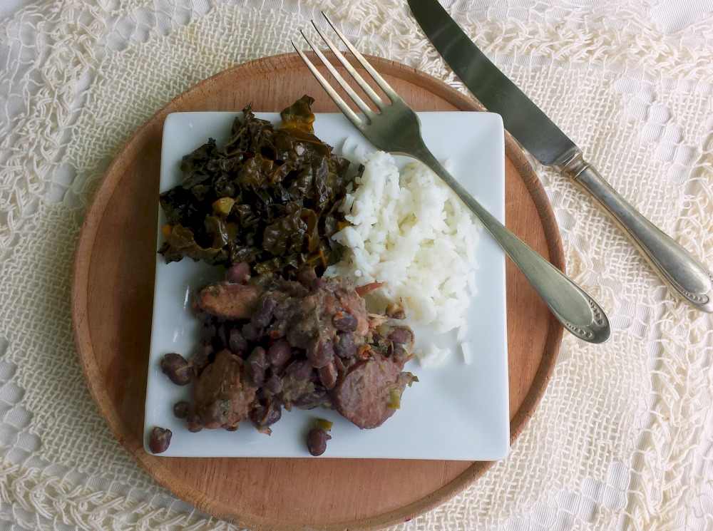 feijoada, kale and white rice from a world cup dinner and world cup playlist