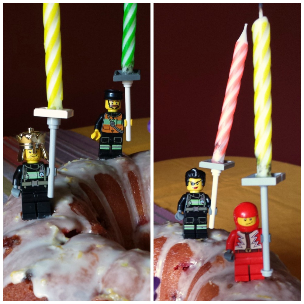 Homemade Lego Candle Holders for a Birthday Cake Make Something Daily