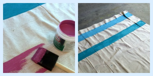 canvas beach windbreak with hand painted stripes