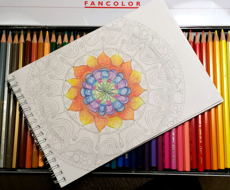 meditative mandala partially colored in